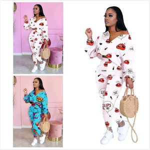 Women 2 Piece Tracksuit Printed Red Lip Bat Sleeve Temperament Suit Casual T Shirt Cropped Pants Outfits Ladies Fashion Leisure Sportwear 06