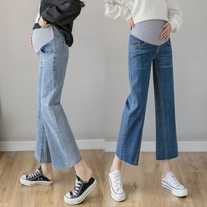 Животные дворы для беременных Широкие джинсы для беременной женщины 2021 беременность джинсовые брюки хлопчатобумажные прямые брюки одежда плюс размер