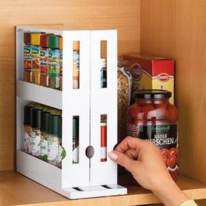 Cocina especia Organizador rack multi-función de rotación Estante de almacenamiento en rack de diapositivas del gabinete de cocina Armario de almacenaje del organizador de la cocina