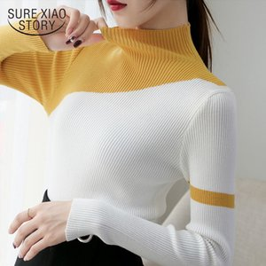 2020 Winter Clothes Women Turtleneck Autumn Knit Sweaters Slim Women Tops Patchwork Bottoming Shirts Fashion Clothing New 6998