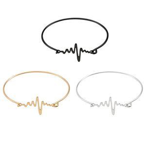 HUMANO FINO 2020 Mode Simple 3 couleurs Bracelets Bangles Courage Électrocardiogramme fille Cadeaux Bijoux Bracelets pour les femmes