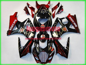 carenagens injeção kit + 7 Brindes para SUZUKI K7 GSXR1000 GSXR 1000 07-08 Suzuki GSX-R1000 2007-2008 K7 ABS carroçaria #black RED BACARDI