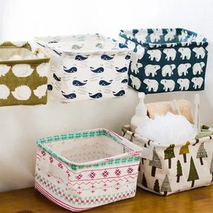 Foldable Desk Storage Box Sundries Underwear Toy Storage Box Cosmetic Book Organizer Stationery Container Laundry Basket DHC1771