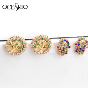 Joyería árbol de la vida para las mujeres Pendientes de Micro Pave arco iris circonio cúbico Mano de Hamsa de Fátima pendientes turca luckly ERS-Q24