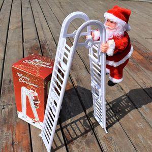 Navidad Santa Claus eléctrico Climb doble escalera Hanging Tree muñeca decoración de Navidad Adornos de Navidad Juguetes regalos del transporte marítimo de OWB1773