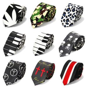 5cm Mens Wedding Accessories Skinny Ties for Men Printed Pattern Casual Slim Necktie Skull Color Black White Red Blue