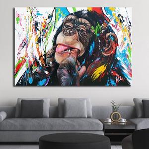 Colorido macaco Graffiti bonito que pintam a arte Poster Modern Pop Prints Abstract Wall Art Canvas Pictures para Sala Decoração