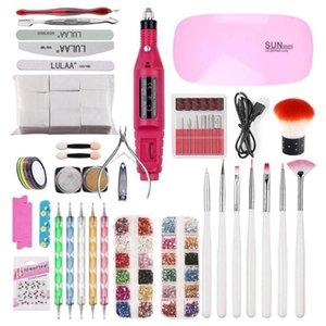 Kits d'art de ongles Kits Blue Zoo Set UV LED Sèche-lampe avec tremper les outils de manucure Perceuse électrique pour