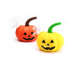 Pumpkin Hookah Halloween Silicone Water Pipe Silicone Bongs FDA Smoking Pipes Tobacco Water Pipe Glass Bong Easy Cleaning DHL Free