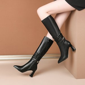 Tight High Boots Winter Новейший из натуральной кожи боковой молнии Толстые Высокие каблуки обувь женщина партии Женщины Boots
