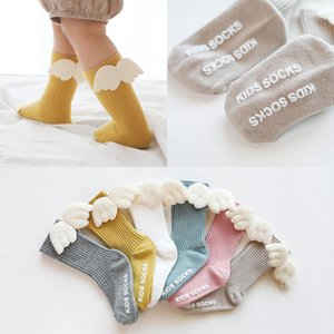 Winter warm Baby Girl Socks Knee High angel Wing Princess Socks Christmas Baby Long Tube Vertical Striped Sock Xmas