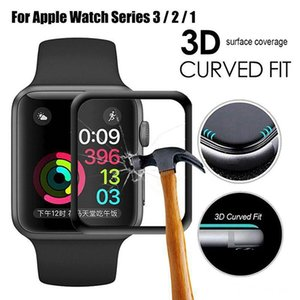3D Full Coverage Screen Protector 9H Anti-Scratch Tempered Glass for Apple Watch Series 5 4 3 2 1 40mm 44mm 38mm 42mm without retail