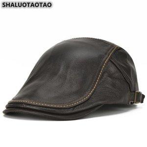 SHALUOTAOTAO Trend Genuine Leather Hat For Men Autumn Winter Fashion Cowhide Berets Adjustable Size Elegant Brands Snapback Cap
