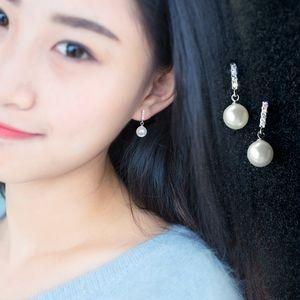 RNuHv s925 orecchio Stud Argento in rilievo orecchini orecchino Eardrop perline stile coreano vite prigioniera del diamante all'orecchio orecchini di perle sintetiche delle donne breve eardrop
