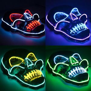 Хэллоуин украшения Хэллоуин Glow маски материал ПВХ LED Хэллоуин Женщины Мужчины маски костюмы для взрослых домашнего декора