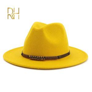 Fashion Men Women Wide Brim Fake Wool Felt Jazz Fedora Hats British Style Trilby Party Formal Panama Cap Polyester Dress Hat RH