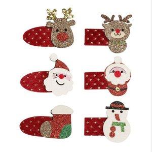 Çocuklar Sevimli Noel Firkete Glitter Elk Klip Santa Kardan Adam Headdress Saç Klip Bebek Çocuk Firkete Kızlar Saç iğneler Barrette Ucuz D9905