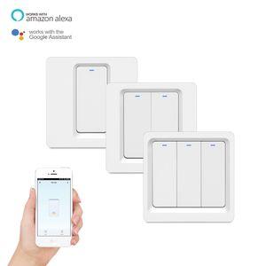 Tuya App Smart Wireless lumière télécommande interrupteur mural UE Bouton Version Travailler avec Alexa Accueil Google