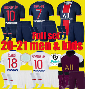 20 21 PSGCamisa de futebol 2020 2021 DI MARIA Mbappé Neymar homens crianças JR define ICARDI Maillots de futebol kits camisa do uniforme