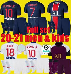 20 21 PSGJersey Fußball Jersey 2020 2021 DI MARIA Mbappe NEYMAR Männer Kinder JR setzt ICARDI Maillots de Fußballhemd Kits Uniform