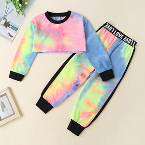 Fashion Baby Girls 18M-5T Clothes Sets Children colourful long sleeve t-shirt top and pants 2pcs outfits set