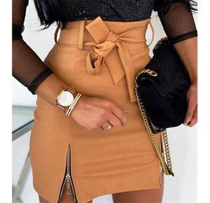 Женщины Юбки Мода Линия PU Юбки с молнией Повседневный Natural Color выше колен юбки женские Одежда
