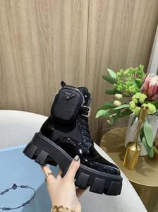 Prada boots 여성 사이즈 35-41까지 땅딸막 한 발 뒤꿈치 부팅 2020 뜨거운 판매 - 두꺼운 발 뒤꿈치 여성 마틴 부츠 발목 신발 진짜 가죽 부츠 소 근육 유일한 레이스