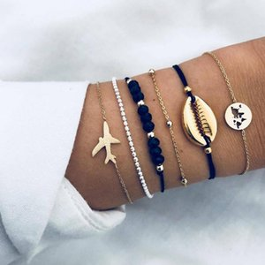 Europe and the United States cross border jewelry cutout map six sets of color contrast Bracelet aircraft metal shell suit
