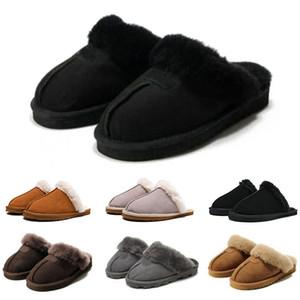difusos mujeres calientes suaves toboganes marca de piel cubierta de invierno para mujer de las sandalias de los deslizadores de casa chanclas con el punto sandalia pantoufle 36-41