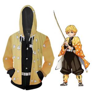 Unisex Japan Anime Demon Slayer Kimetsu No Yaiba Cosplay Costume 3D Agatsuma Zenitsu Coat Casual Jacket Zipper Hoodie