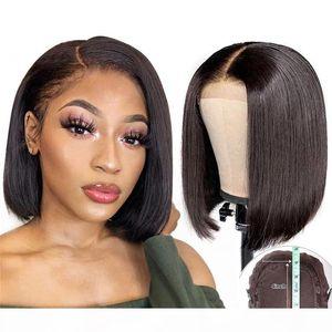 4*4 Lace closure wigs bob Short cut Human Hair lace wig brazilian virgin hair closure wigs high quality