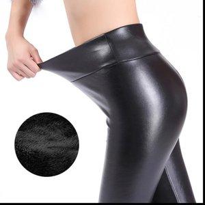 Каминский зимы гетры для женщин Мода искусственной кожи Леггинсы женские брюки Теплые женские брюки Теплый Твердотопливные поножи