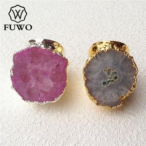 FUWO solaire Quartz Bague 24K Or Electroplated Multicolor Fleur Cristal Bague bijoux réglable en gros RG008