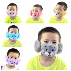 Children Face Mask 2 In 1 Cartoon Bear Plush Earmuffs Protective Thick Warm Kids Masks Dustproof Washable Party Winter Mouth Cover DHD1165
