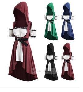 Weinlese-Frauen Kleid Medieval Renaissance Witch Wizard Umhang Tunika Gürtel Prinzessin Kleid Vampir Hoodies Cosplay Kostüme