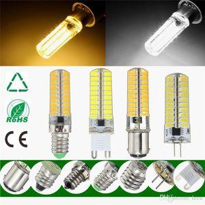Luz LED Bulb G4 G9 E11 E12 E14 E17 BA15d 5730 SMD 80Leds Lamp Bulb Silicone iluminação morna Pure White Regulável AC110V 220V