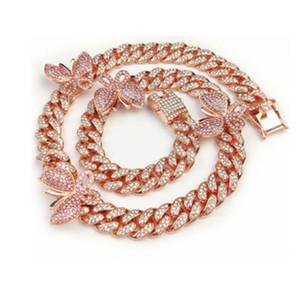 color oro argento gioielli rosa 3 colori 5A zirconi catena cubana piede catena gamba farfalla donne cavigliera CX200704 estate