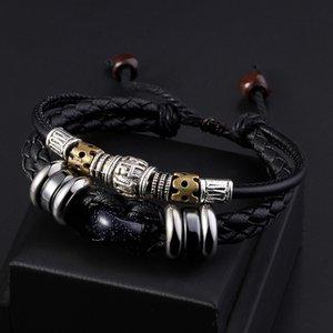 rSY9H a sei caratteri, stile coreano studente moda titanio acciaio parole vere uomini braccialetto di corda in pelle pietra dell'occhio della tigre tessuta ins Bracele