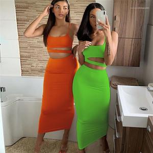 Kısa Tankı Yüksek Bel Etek Seti 2020 Kadın Tasarımcı BODYCON Elbiseler Seksi Spagetti Askı Mürettebat Boyun Hollow Out