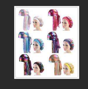 Moda Erkekler Kadınlar Pırıltılı İpek Durag Bandana Bonnet Sıcak Şapkalar Renkli Geniş Doo Rag Bonnet Polyester Cap Rahat Uyku Hat set