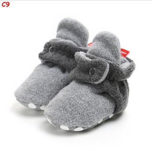 Baby Unisex Cozy Fleece Booties with Grippers for Newborns and Infants Newborn Infant Slipper Socks Toddler First Walker Crib Shoes 0-12M
