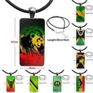 Regalo freddo Wedding Collana Donne Jamaica National Flag di vetro fatto a mano Mezza ciondolo rettangolo collana per