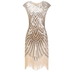 Women Cap Sleeve Retro Tassel Evening Party Dress 1920s Sequined Embellished Fringed Great Gatsby Flapper Dress Vintage