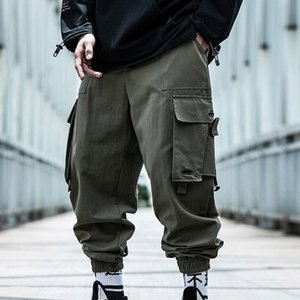 New Cotton Big Pocket Cargo Pants Men Loose Hip Hop Trousers Fashion Super Cool Middle Waist Street Dance Clothing Streetwear