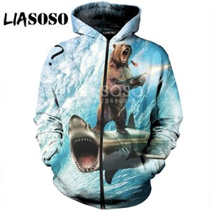 LIASOSO 3D Print Unisex Funny Animals Bear Shark Cat leopard Hooded pull over Hoodies Sweatshirts Zipper Jacket Harajuku X0686 0917