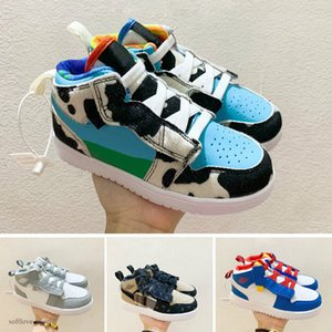 Nike Air Jordan 1 Детские тапки Младенцы Малыши официально показали 35-я годовщина D х J 1 High OG Wolf Gray Чикаго PJ Tucker Ким Джонс Баскетбол обувь