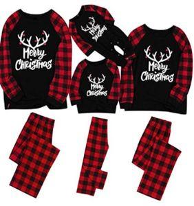 Merry Matching Pajamas Christmas Pajamas for Family Women Men Kids Baby Pjs Red Plaid Reindeer Loungewear HH9-3323