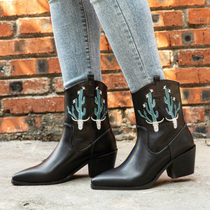 women mid-calf boots high heels pumps shoes woman chaussure zapatos mujer pointed toe plus size slip on embroidery booties D1488