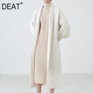 [DEAT] New Autumn Fast Delivery Trend Solid Color Full Sleeve Warm Scarf Collar Elegant Loose Cardigan Woolen Coat 200924
