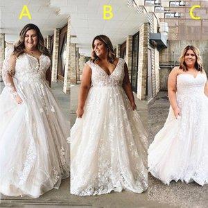 3 Styles Wedding Dresses Plus Size Boho Appliqued Lace Bridal Gowns A Line Foor Length Bohemain Bride vestido de noiva
